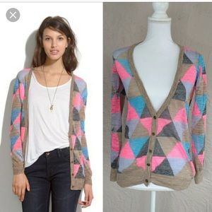 Madewell Fair-weather Harlequin Cardigan EUC